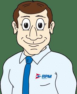 kreslená postava muže v košili s kravatou