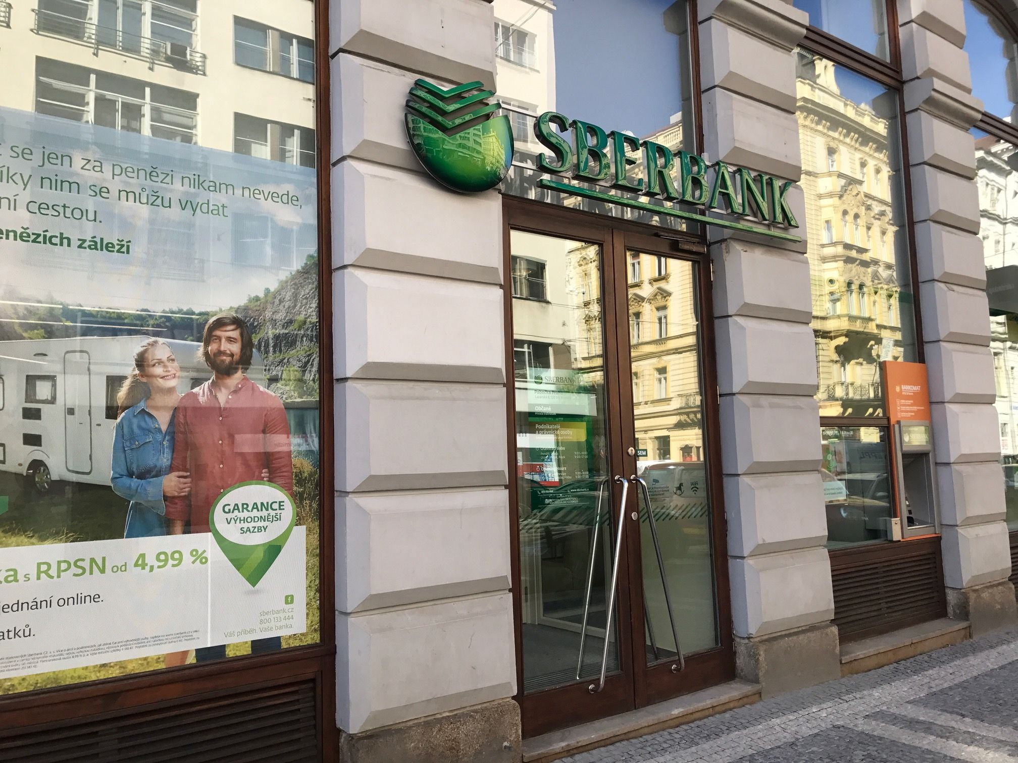 Fotografie pobočky Sberbank v ulici Lazarská